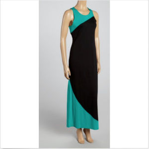 Poof! Black & Jade Color Block Maxi Dress M